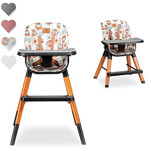 Lionelo Mona Seggiolone Pappa 4 in 1 sgabello sedia turistica regolabile doppio vassoio feltrini antiscivolo pratico poggiapiedi cinture 5 punti lombare fino 75 kg (Flower)
