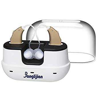 Banglijian Hearing Amplifier Rechargeable for Adults Seniors Magnetic Contact Charging Box with Larger Capacity Small Sound Amplifier with Noise Reduction and Feedback Cancellation