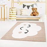 carpet city Bubble Kids Tapis pour Enfant à Poils Plats avec Motif Nuages Rose, Vert Menthe, Bleu pétrole, Beige pour Chambre d'enfant - 80 cm_x_150 cm - Beige