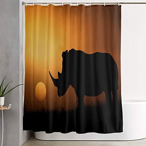 VINISATH Duschvorhang,Nashorn Afrika Sonne Sonnenaufgang & Sonnenuntergang,wasserdichter Badvorhang mit 12 Haken Duschvorhangringen 180x180cm