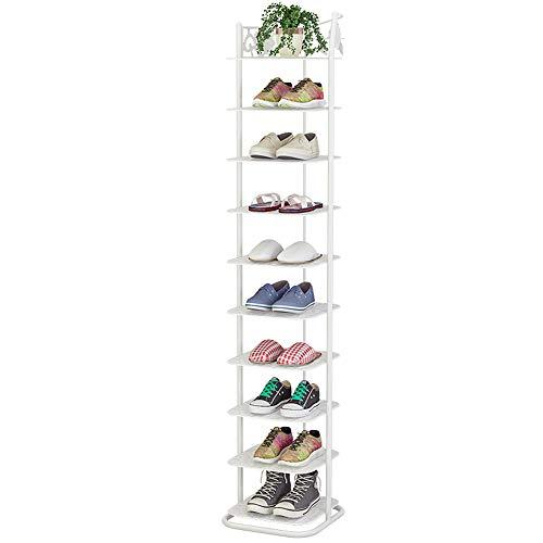 IBEQUEM Zapatero de metal con 10 niveles, organizador de zapatos, torre vertical para el hogar, estantes para el salón, vestidor y pasillo, individual (color blanco)