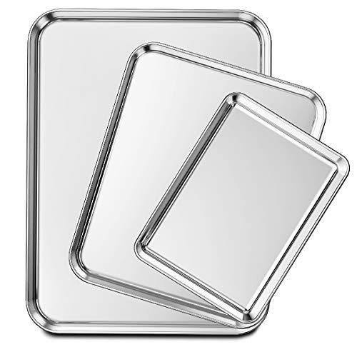 Wildone Baking Sheet Set of 3, Stainless Steel Cookie Sheet Baking Pan,...