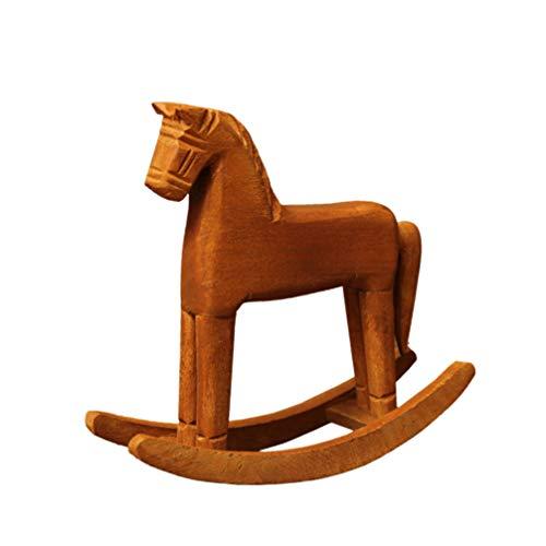 Vosarea Houten Schommelende Paard Tafel Decoratie Desktop Craft Ornament voor Office Restaurant Thuis Vrienden Kids Gift