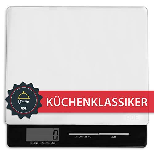 ADE Báscula digital de cocina Franzi KE1215, pantalla LCD, material-cristal de seguridad...