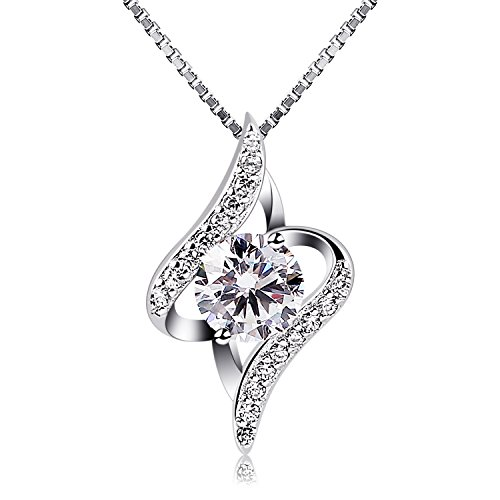 B.Catcher Women Necklace 925 Sterling Silver Necklace Cubic Zirconia Pendant, 18'