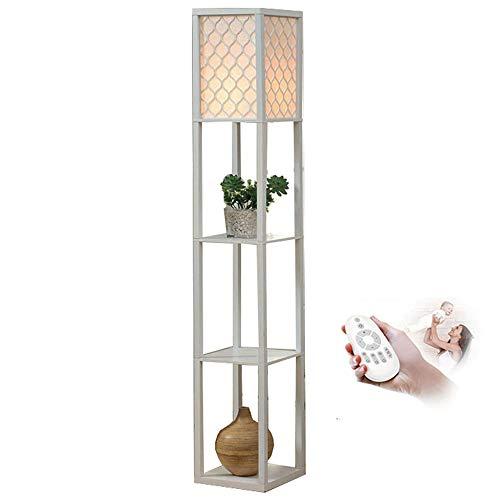 Oujie Dimbare staande lamp, met afstandsbediening, van hout, hoge voet, rooster, sofalicht, tafellamp E27 nachtkastje, slaapkamer, wit (26 cm * 26 cm * 160 cm)