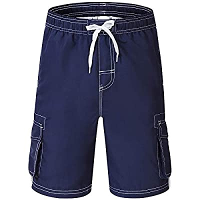 Akula Big Boys Soft Swim Trunks Kids Quick Dry Beach Board Shorts Swimsuit for Boys Navy XL(18/20)