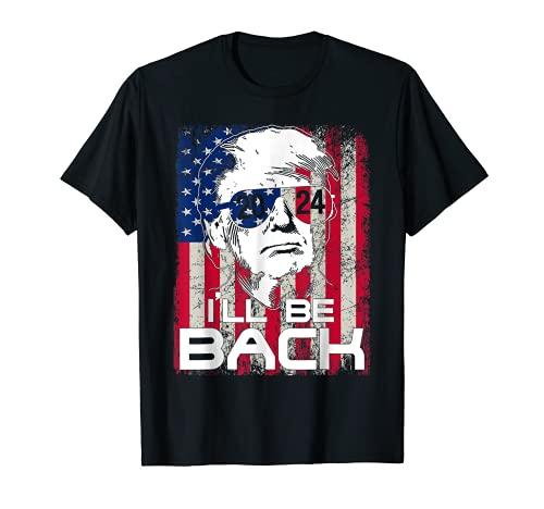 I'll Be Back Trump 2024 ヴィンテージ ドナルド・トランプ 7月4日 Tシャツ