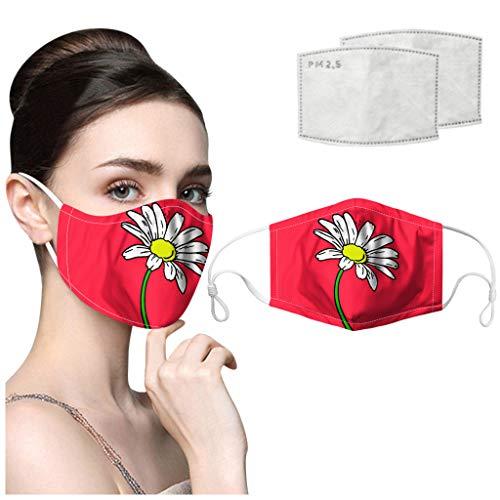 riou Mundschutz mit Motiv und Filter Waschbar Baumwolle Atmungsaktive Staubdicht Mund und Nasenschutz Halstuch für Damen Herren
