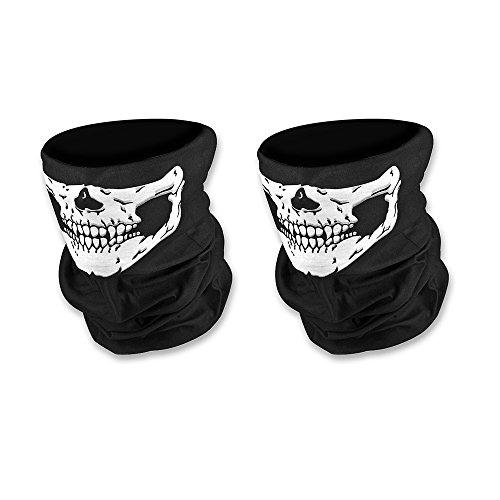 Doutop Paintball Maske Motorrad Sturmmaske 2er Pack Totenkopf Maske für Halloween Gesichtsmaske Skeleton Schädel Bandana für Radfahren Kart Balaclava Karneval Skifahren Schwarz
