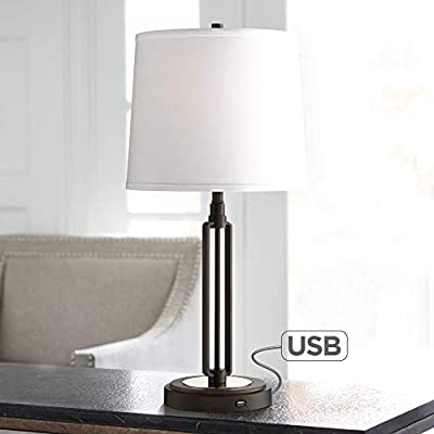 Javier Industrial Table Lamp with Hotel Style USB Charging Port Iron Bronze White Drum Shade for Living Room Family Bedroom - Franklin Iron Works