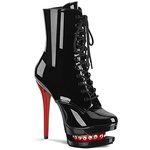 Pleaser Damen BLONDIE-R-1020 Plateau High Heels Stiefelette Lack Schwarz/Rot 40 EU