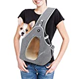 Rision Pet Dog Sling Carrier Breathable Mesh Travel Safe Small Dog Sling Bag Carrier for Dogs Cats Comfortable Hard Bottom Support Cat Carry Bag with Adjustable Strap