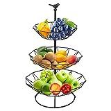 Frutero de 3 pisos, cesta de fruta con 2 bandejas de metal desmontables, bandeja para cara...
