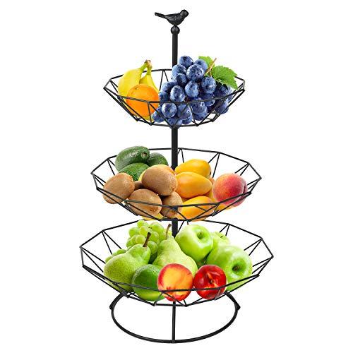 Présentoir à fruits 3 étages Corbeille à fruits avec 2 corbeilles à fruits en métal amovible Panier à bonbons Panier à fruits pour décoration de la maison, cuisine (noir)