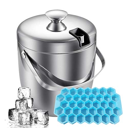 Ice Bucket,BEIGESUN Double Layer Stainless Steel Ice Bucket With Lids & Tongs,Perfect Champagne Ice Bucket to Storage Ice with Ice Tray, Suitable for Bars, Parties and Homes Out Door Activity