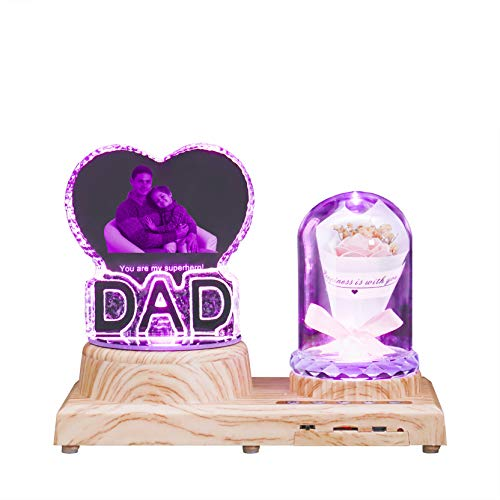 DAD & Rose 3D Crystal Light Personalizado Bluetooth Music Light Photo Light Luz LED de 7 colores Día del padre para hombres(DAD Pink Rose)