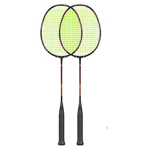 Sipaluo Professionelles Badminton-Set, Zwei Ultraleichte Carbon-BadmintonschläGer FüR Fitnesstraining Und Unterhaltung (EinschließLich Badminton Und ZubehöR),Pink orange