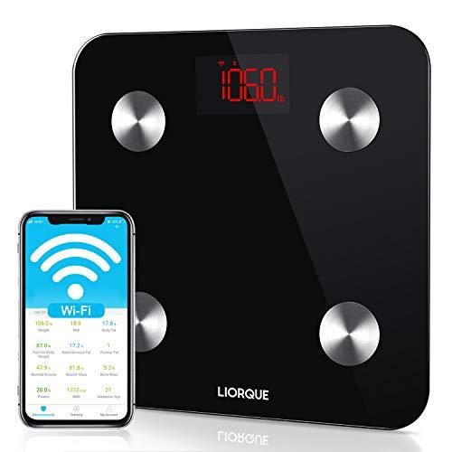 LIORQUE Digitale Körperfettwaage Wlan Personenwaage Digital Waage mit WI-FI, APP für iOS & Android, Messung von Körperfett, Gewicht, BMI, Muskelmasse, Protein, Schwarz