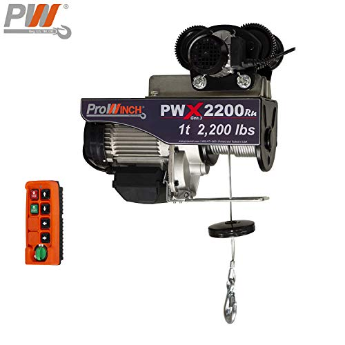 1 Ton Electric Wire Rope Hoist 2200 lbs. 38 ft. Wireless w/Power Trolley 110V