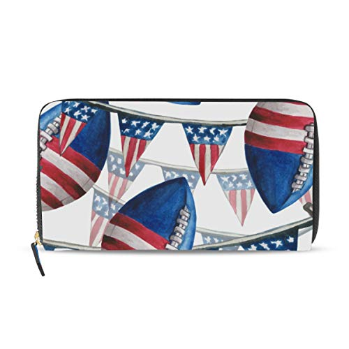 Rootti Rugby-Geldbörse mit Amerika-Flagge für Damen, lange Geldbörse, PU-Leder, Reißverschluss, Münzgeld, Handy, Clutch, Tasche für mehrere Karten