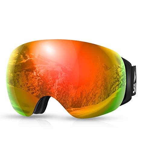 Skibrille Snowboard Brille Schneebrille Ski Goggles Magnet Wechselobjektive Brille OTG Damen Herren Jugend Rahmenlose Anti-Fog UV Schutz Antikratzbeschichtung Anti Rutsch Gurt Skifahren