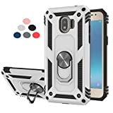 StarLodes Compatible for Galaxy J2 Pro 2018(Not J2 Prime) Phone Case,Grand Prime Pro Case,LDStars Shockproof Defender Cover with Ring Kickstand Fit Magnetic Car Mount-Silvery