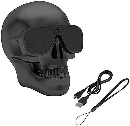 Altavoz Bluetooth inalámbrico con diseño de calavera, portátil, estéreo, doble altavoz exclusivo de graves, USB modo privado, adecuado para interior y exterior, color negro