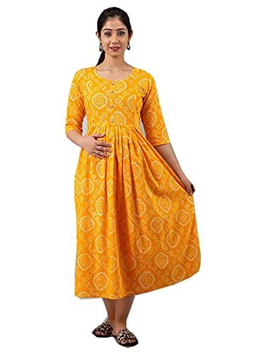 cómodo algodón de lactancia maternidad kurti mujer vestido amarillo bandhej impreso desgaste diario maxi 465j, Como se muestra, XL