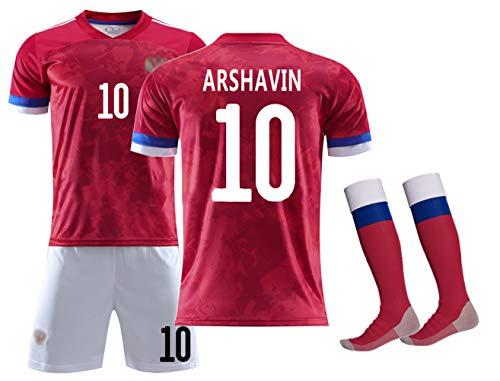 Fußballbekleidung für Kinder Jungen Mädchen Männer, Arshavin 10 Kerzhakov 11 Kokorin 9 Fan-Trikots, für die Euro 2020 Russland-Mannschaft Home Kurzarm-Fußballanzug, T-Shirt & Shorts &