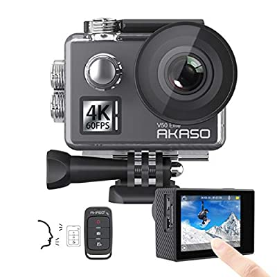 AKASO V50 Elite 4K60fps Touch Screen WiFi Action Camera Voice Control EIS Web Camera 131 feet Waterproof Camera Adjustable View Angle 8X Zoom Remote Control Sports Camera with Helmet Accessories Kit by AKASO
