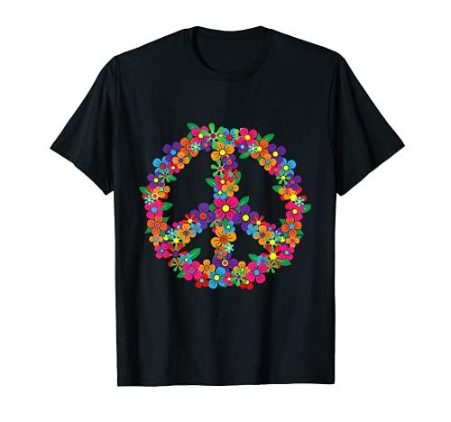 Signo de la paz floral Flor Retro HIppie 60's 70's Symbol Camiseta