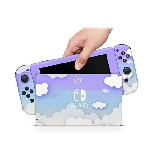 46 North Design Switch Skin für Konsole und JoyCons, gleiche Abziehbildqualität wie für Autos, lila Himmel weicher blauer Wolkenpuff weißer Pastell Kawaii langlebig, blasenfrei, hergestellt in Kanada