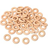 Ira Pollitt 150 Pcs 25 mm/1 inch Wooden Craft Ring Natural Unfinished Mini Wooden Rings Circle Wood Pendant Connectors for DIY Projects Jewelry and Craft Making