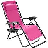 tectake 800885 Gartenstuhl Hochlehner, stufenlos verstellbare Rückenlehne, mit dekorativer Gummischnürung, ansteckbare Ablage, klappbarer Liegestuhl inkl. Kopfpolster (Pink | Nr. 403873)