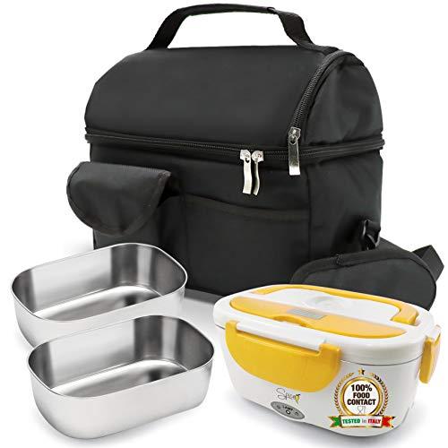 Spice - Set de bolsa térmica con correa + calentador de alimentos amarillo inoxidable + 2 bandejas de 1,5 litros de acero inoxidable
