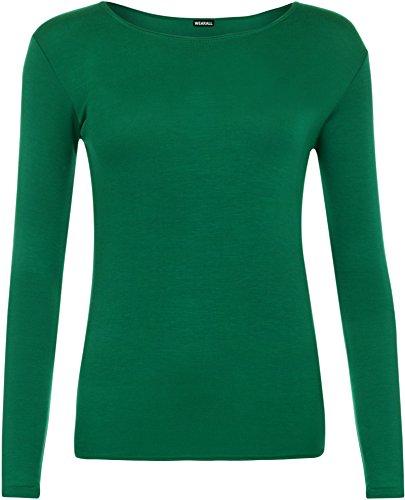 WearAll - Damen T-Shirt Langarm Top - Jade - 40-42