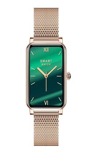 Aliwisdom - Reloj Inteligente para Mujere, Fashion Smartwatch con función de recordatorio de teléfono SMS de Whatsapp Impermeable Reloj Deportivo para iPhone Android (Oro Rosa)