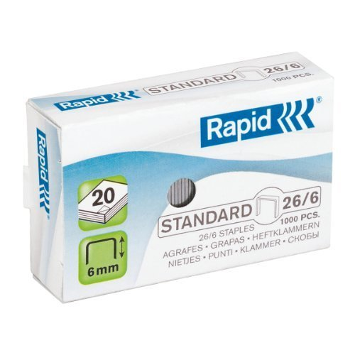 Rapid - Lote de 3 cajas de 1000 grapas estándar 26/6 galvanizadas