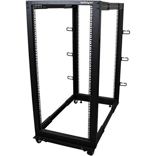 StarTech.com Open Frame Rack 25HE, 4 Pfosten, Serverschrank tiefenverstellbar mit Rollen / Nivellierfüße und Kabelverwaltung