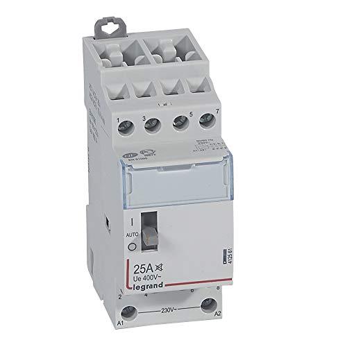 Legrand 412561 Contacteur de puissance CX³ silencieux bobine 230V, 4P, 400V, 25A, contact 4F, 2 modules