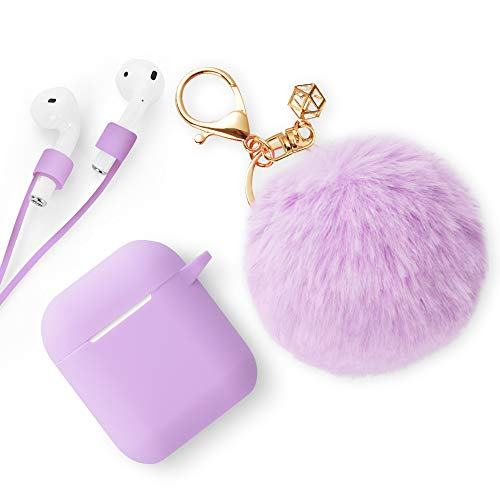 Xmifer AirPods Case, Cute Airpods Case Keychain Drop Proof (Silicone Skin for AirPods Charging Case 2/1) with Fluffy Fur Ball Keychain and Airpods Anti-Lost Strap for Airpods 2/1(Light Purple)