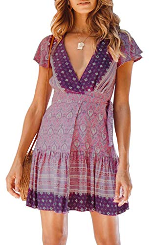 ZESICA Women's Summer Wrap V Neck Bohemian Floral Print Ruffle Swing A Line Beach Mini Dress Lavender