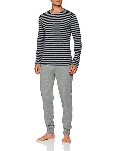 Marc O'Polo Body & Beach Herren M-LOUNGESET-Crew Neck' Zweiteiliger Schlafanzug, Grau (Mel. 202), Large (2er Pack)
