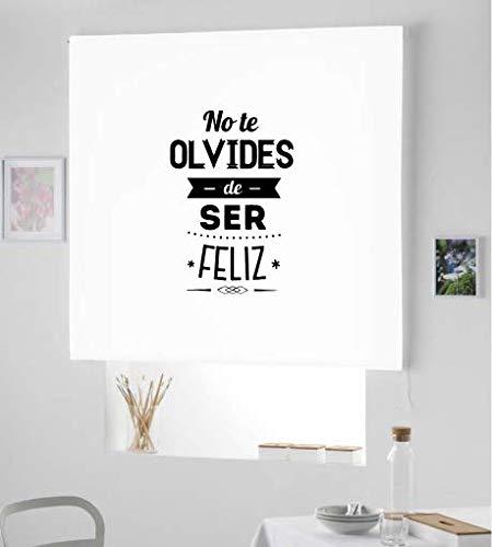 Estor Iroa Enrollable con Frase / Ser Feliz ¡ESTORES ENROLLABLES TRANSLUCIDOS! (100X170, Blanco)
