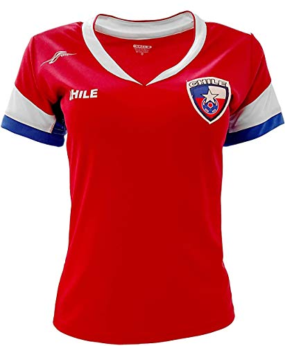 Chile New Arza Women Jersey Red Slim Fit with V Neck 100% Polyester (Medium)