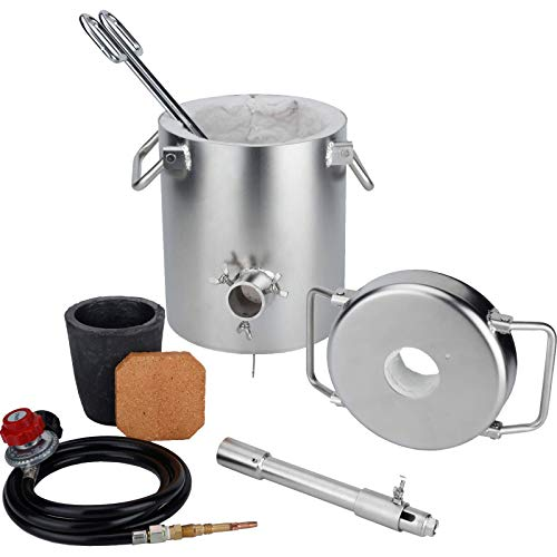Propane Melting Furnace Kit with 6 KG Graphite Crucible and Tongs Kiln Stainless Steel Body Casting Refining Smelting for Precious Metals Gold Silver Tin Aluminum Scrap Metal Recycle