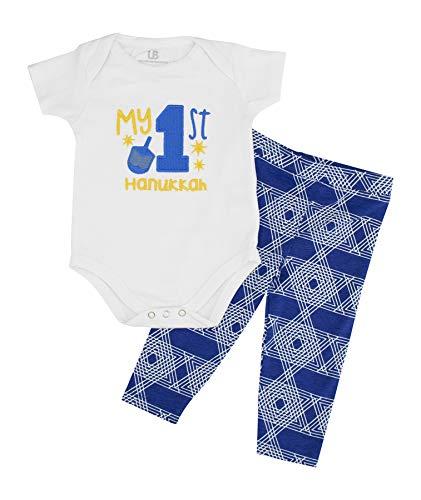 Unique Baby Unisex My 1st Hanukkah Layette Set Onesie Outfit (6m) Blue