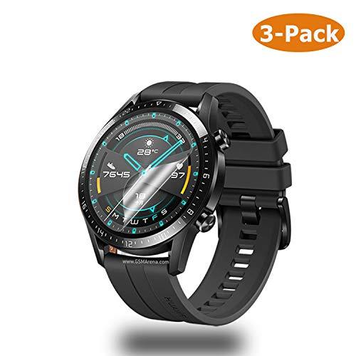 Panzerglas Schutzfolie kompatibel mit Huawei Watch GT 2 46mm, [3 Stück] Huawei Watch GT 2 46mm Nicht Panzerglas Folie Schutzfolie [Vollständige Abdeckung] [Blasenfreie] HD klar Flexible Folie