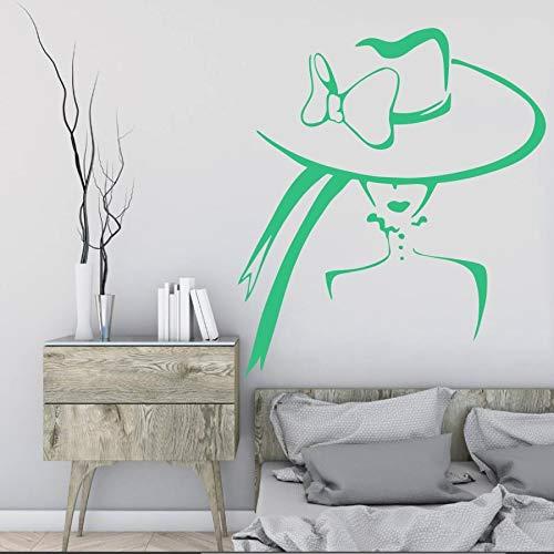 wZUN Künstler Hauptdekoration Schönheitssalon Mädchen mit Hut Wandtattoo Vinyl Aufkleber Schlafzimmer Wohnzimmer Dekoration 50x56cm